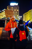 Protesters at anti corruption protests, Bucharest, Romania Royalty Free Stock Photo