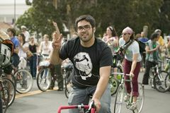 Protesters arrive on bicycle Stock Photos