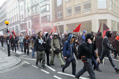 Protesters at an Austerity Rally in London Royalty Free Stock Photos