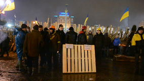 Protesters and barricade during Euro maidan meeting in Kiev, Ukraine,. KIEV - DEC 12: Protesters and barricade during Euro maidan meeting in Kiev, Ukraine on stock video