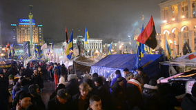 Protesters and barricade during Euro maidan meeting in Kiev, Ukraine,. KIEV - DEC 12: Protesters and barricade during Euro maidan meeting in Kiev, Ukraine on stock video footage