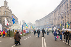 Protesters blocked the main street of Kiev campsite. Royalty Free Stock Photos