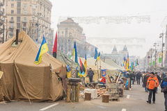 Protesters blocked the main street of Kiev campsite. Royalty Free Stock Images