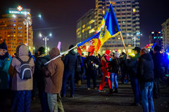 Protesters in Bucharest, Romania Royalty Free Stock Photos