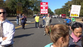 Protesters at the Checkpoint stock footage