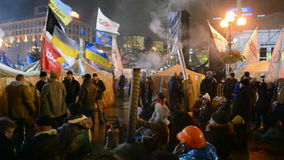 Protesters in city center during Euro maidan meeting in Kiev, Ukraine,. KIEV - DEC 12: protesters in city center during Euro maidan meeting in Kiev, Ukraine on stock footage