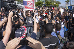 Protesters clash in verbal conflict Stock Photography