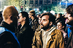 Protesters confronting police. During protest in Bucharest after club fire. People are demanding justice for the victims Stock Image
