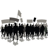 Protesters crowd. With banners and flags. Vector illustration Royalty Free Stock Photos
