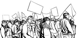 Protesters crowd walking in a demonstration. Vector illustration stock illustration