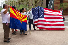 Protesters at Donald Trump's first Presidential campaign rally in Phoenix Royalty Free Stock Photos