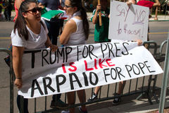 Protesters at Donald Trump's first Presidential campaign rally in Phoenix. Donald Trump held his first campaign rally, since announcing his Republican candidacy royalty free stock image