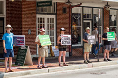 Protesters - Downtown Roanoke, Virginia, USA royalty free stock image