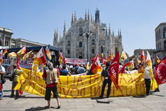 Protesters in front of Duomo of Milan Royalty Free Stock Photography