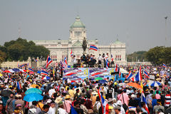 Protesters gather at King Rama 5 statue Stock Photos