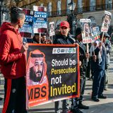 Protesters gather outside Downing Street in central London to voice opposition to the visit of the Saudi Crown Prince stock photos