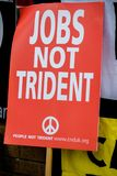 Protesters gather outside the main gate to the AWE, Aldermaston. Aldermaston, United Kingdom, 1st April 2018:- CND protesters gather outside the main gate to the stock photo