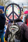 Protesters gather outside the main gate to the AWE, Aldermaston. Aldermaston, United Kingdom, 1st April 2018:- CND protesters gather outside the main gate to the royalty free stock photos