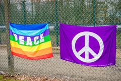 Protesters gather outside the main gate to the AWE, Aldermaston. Aldermaston, United Kingdom, 1st April 2018:- CND protesters gather outside the main gate to the stock image