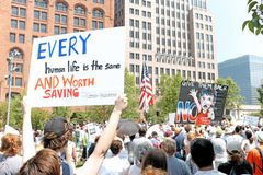 Protesters gather to oppose Trump administration policies of child-parent separation at the border. Thousands gather in downtown Cleveland, Ohio, Public Square royalty free stock image