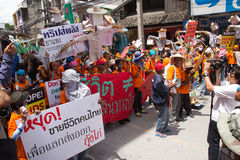 Protesters gathered FTA negotiations between Thailand and the EU Stock Photography
