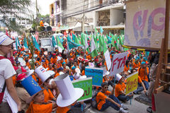 Protesters gathered FTA negotiations between Thailand and the EU Royalty Free Stock Photo