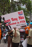 Protesters gathered FTA negotiations between Thailand and the EU Stock Photos