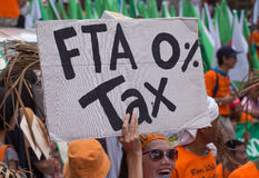 Protesters gathered FTA negotiations between Thailand and the EU Stock Photo