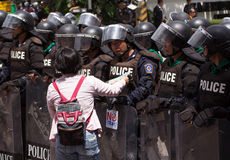 Protesters gathered FTA negotiations between Thailand and the EU Royalty Free Stock Photos