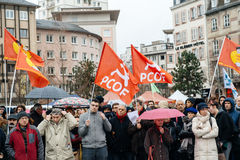 Protesters gathered at Kleber Square protesting government's pla Stock Photography