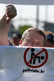 Protesters in gay pride in Riga 2008 Stock Image