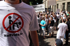 Protesters in gay pride in Riga 2008 Royalty Free Stock Photos