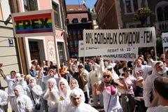 Protesters in gay pride in Riga 2008. Gay pride in Riga, Latvia, 2008 Royalty Free Stock Photos
