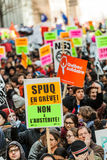 Protesters Holding all kind of Signs, Flags and Placards in the Streets. Royalty Free Stock Photography