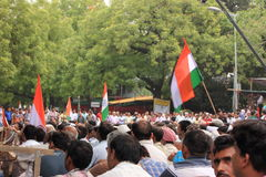 Protesters holding Indian flags Stock Photography