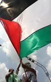 Protesters holding Palestine giant glag Royalty Free Stock Photo