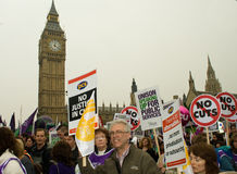 Protesters at the Houses of Parliament Royalty Free Stock Image