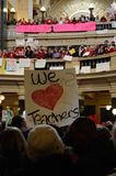 Protesters inside Wisconsin Capitol. Protests inside the capitol in Madison, Wisconsin, against a bill proposed by Governor Walker aimed at curtailing public Stock Photo