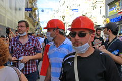 Protesters. ISTANBUL - JUN 1: Violence sparked by plans to build on the Gezi Park have broadened into nationwide anti government unrest on June 1, 2013 in Royalty Free Stock Images