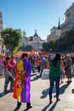 Protesters in Madrid Spain Stock Image