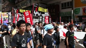 Protesters March ahead of Tiananmen Anniversary in Hong Kong stock footage