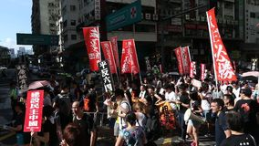 Protesters March ahead of Tiananmen Anniversary in Hong Kong. On 1 Jun 2014 stock video