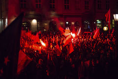 Protesters march through center of city. Royalty Free Stock Images