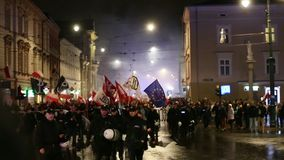 Protesters march through center of city. stock video footage