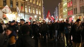 Protesters march through center of city. stock footage