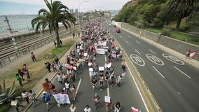 Protesters march to Valparaiso stock footage