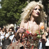 Protesters marching for gay rights at The Gay Pride parade 2012 in Paris, Stock Image