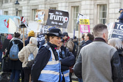 Protesters marching in the London No Muslim Ban demonstration Stock Images