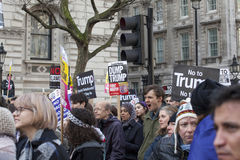 Protesters marching in the London No Muslim Ban demonstration Stock Photography