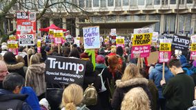 Protesters marching in the No Muslim Ban demonstration in London Royalty Free Stock Images